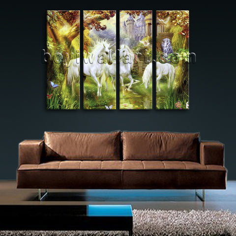 Large Unicorn Horse Picture Classic Wall Decor Living Room Four Panels Art Print