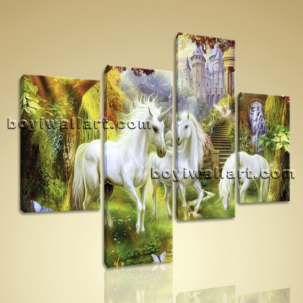 Large Unicorn Horse Wall Art Classic Painting Bedroom Four Panels ...