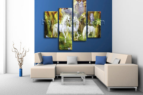 Large Unicorn Horse Wall Art Classic Painting Bedroom Four Panels Print