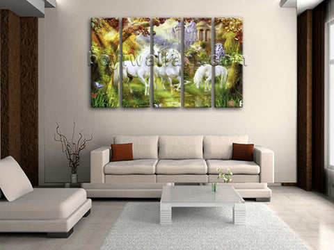 Large Unicorn Horse Print Classic Canvas Art Dining Room 5 Panels