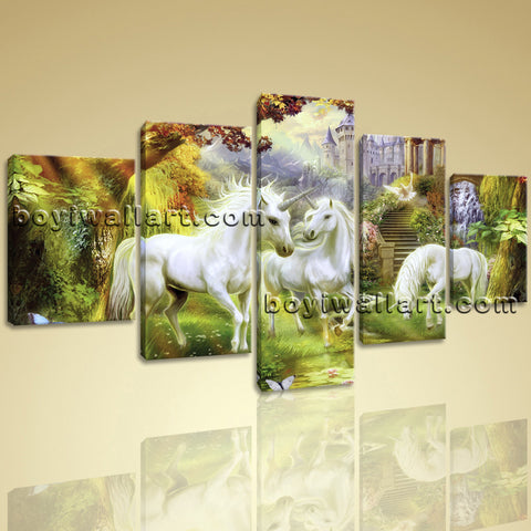 Large Unicorn Horse Hd Print Classic Home Decor Dining Room 5 Panels Art