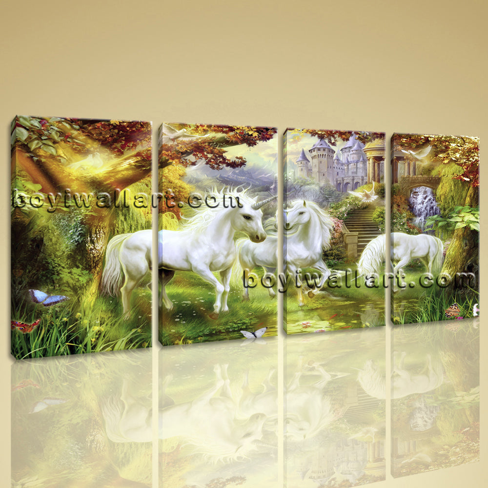 Large Unicorn Horse Painting Classic Canvas Art Bedroom Four Panels Print