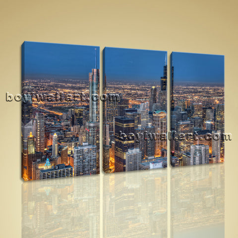 Large Chicago Skyline Wall Decor Photography Home Bedroom Three Panels Prints