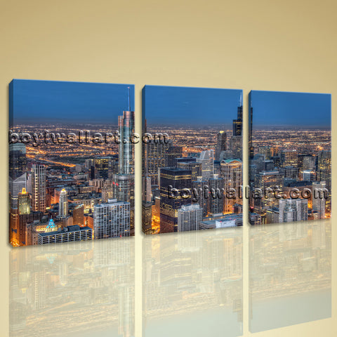 Large Chicago Skyline Hd Print Art Painting Living Room Three Pieces Canvas