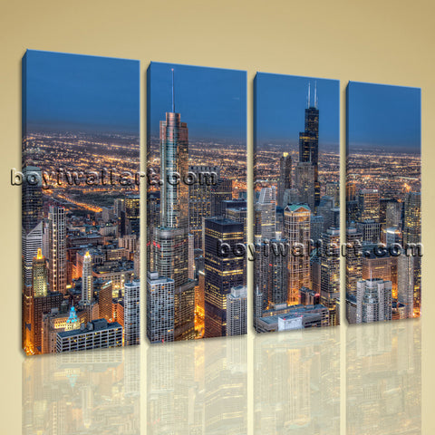 Large Chicago Skyline Canvas Art Photography Wall Living Room Four Panels Prints