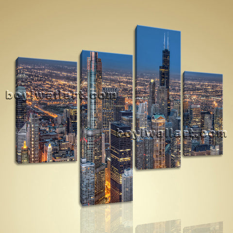 Large Chicago Skyline Picture Photography Oil Painting Bedroom 4 Panels Prints