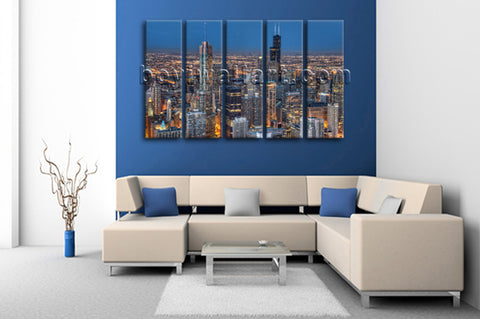 Large Chicago Skyline Hd Print Painting Dining Room Pentaptych Pieces