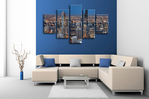 Large Chicago Skyline Wall Art Photography Painting Dining Room Canvas Print