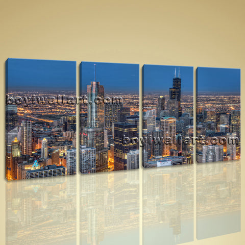 Large Chicago Skyline Picture Photography Wall Decor Bedroom Four Pieces Print
