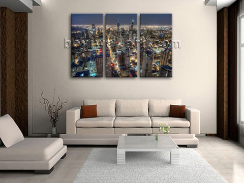 Large Chicago Skyline Canvas Art Painting Bedroom Triptych Panels Prints