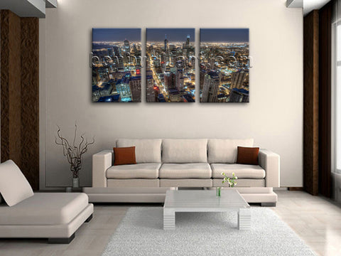 Large Chicago Skyline Canvas Art Wall Decor Living Room Three Panels Print