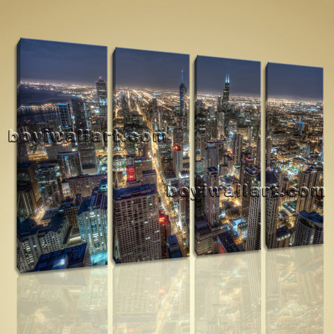 Large Chicago Skyline Canvas Art Photography Painting On Living Room Prints