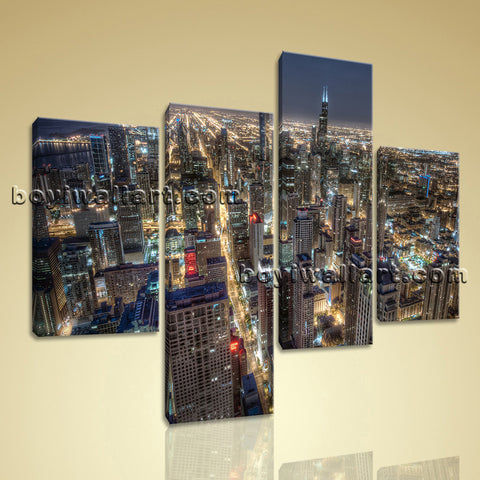 Large Chicago Skyline Wall Art Photography Decor Bedroom Four Panels Prints