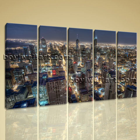 Large Chicago Skyline Wall Art Oil Painting Dining Room 5 Pieces Print