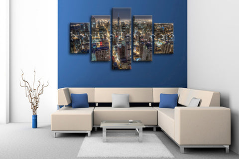 Large Chicago Skyline Wall Decor Oil Painting Dining Room Canvas Print