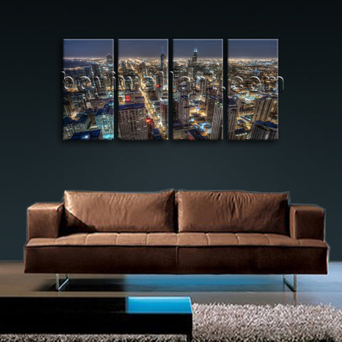 Large Chicago Skyline Canvas Art Photography Home Decor Bedroom 4 Panels Prints