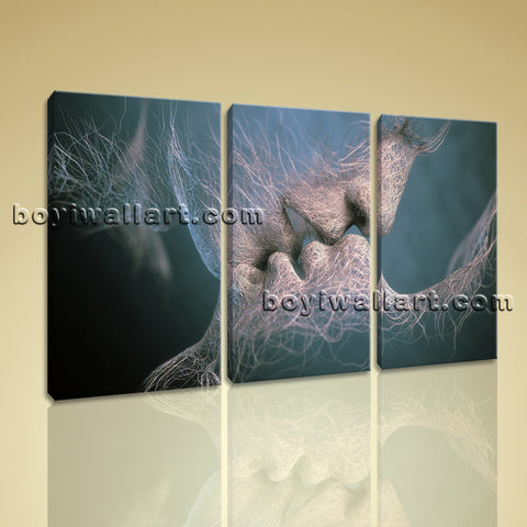 Large Kiss Love Figure Canvas Art Contemporary Oil Painting 1 Panels Print