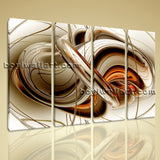 Large Melting Gold Abstract Canvas Art Modern Painting 4 Panels Prints