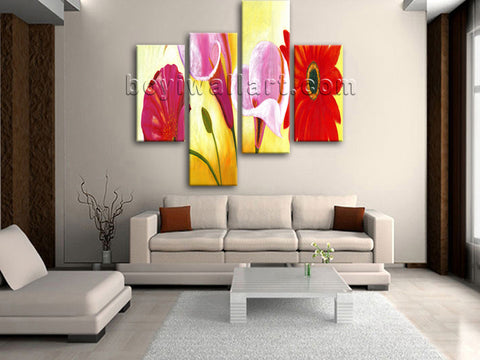 Large Red Flower Painting Wall Decor Classic Oil Bedroom Four Panels Art Print