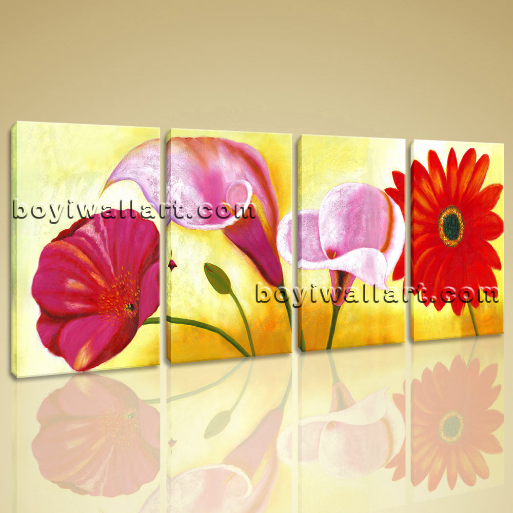 Large Red Flower Painting Print Classic Wall Decor Bedroom Four ...