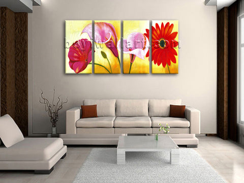 Large Red Flower Painting Print Classic Wall Decor Bedroom Four Pieces Canvas