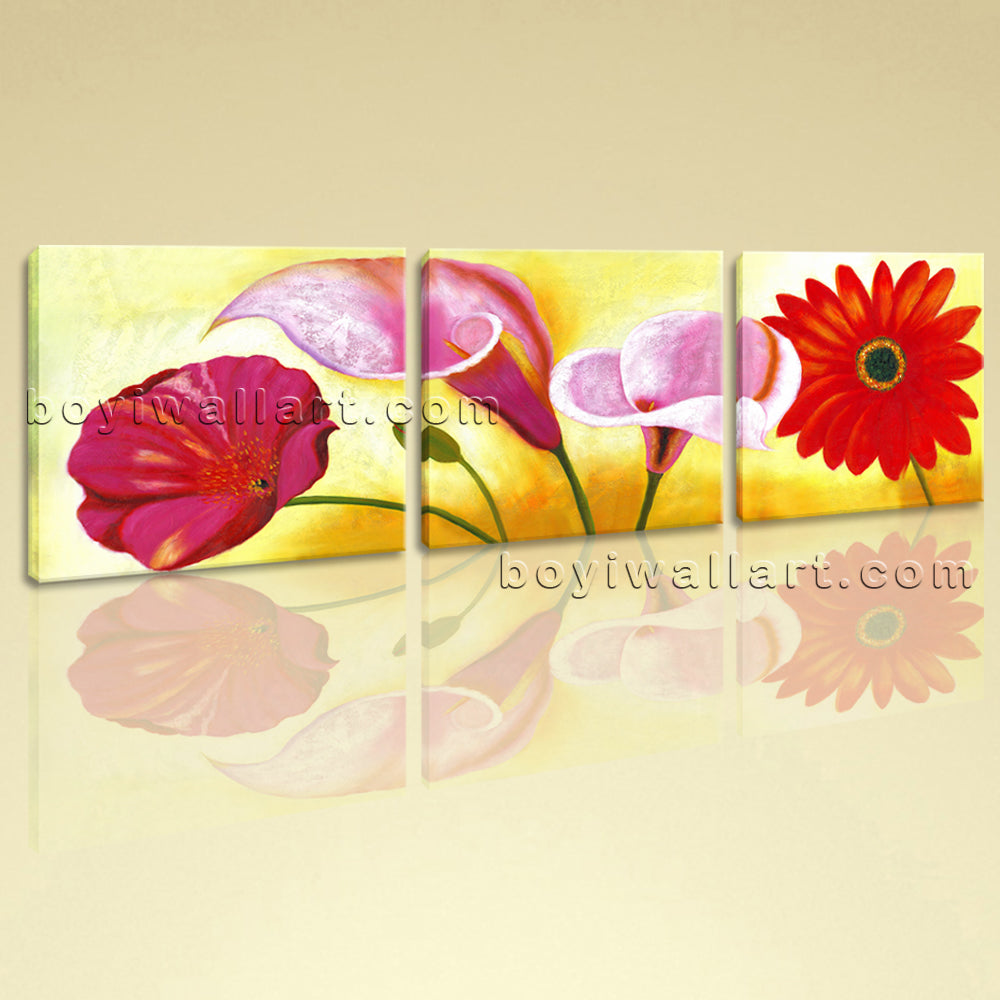 Large Red Flower Painting Print Classic Wall Art Bedroom Triptych ...