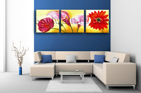 Large Red Flower Painting Print Classic Wall Art Bedroom Triptych Pieces
