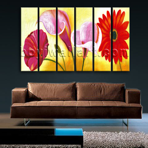 Large Red Flower Painting Picture Classic Home Decor Living Room 6 Pieces Print