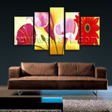 Extra Large Red Flower Painting Wall Art Classic On Canvas 5 Pieces Prints