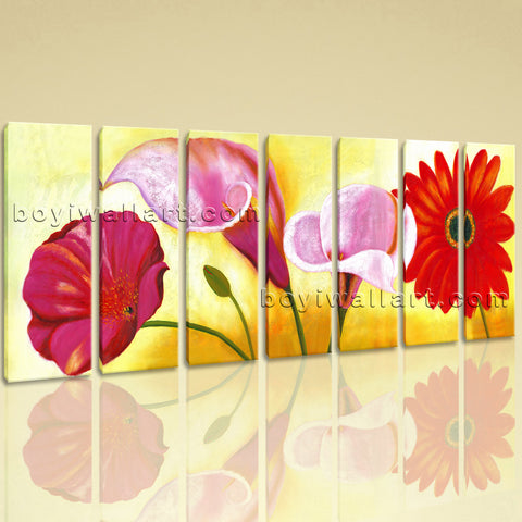 Extra Large Red Flower Painting Canvas Art Classic Living Room 7 Pieces Print