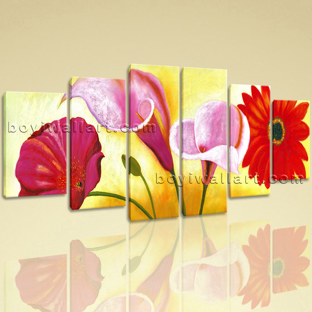 Extra Large Red Flower Painting Hd Print Classic Art Hexaptych Panels