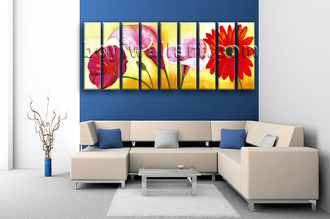 Huge Red Flower Painting Wall Art Classic Living Room Nine Panels Print
