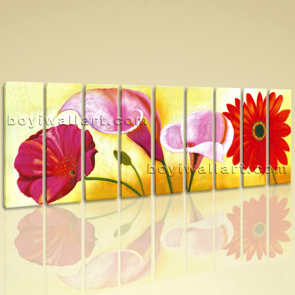 Huge Red Flower Painting Wall Art Classic Living Room Nine Panels ...