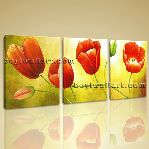 Large Red Tulip Flower Painting Picture Classic Canvas Art Three Panels Print