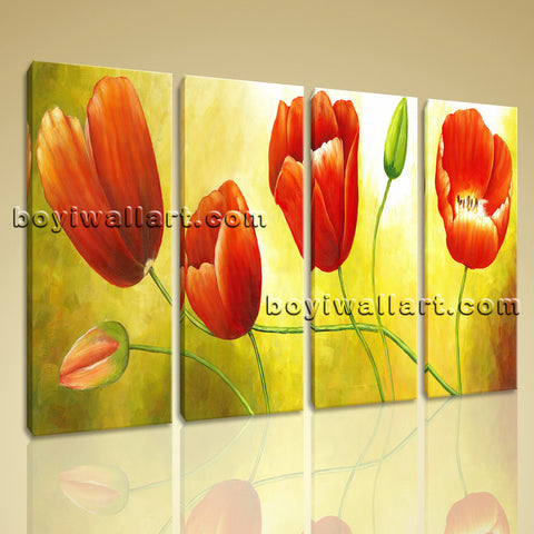 Large Red Tulip Flower Painting Print Classic Canvas Art Tetraptych Panels