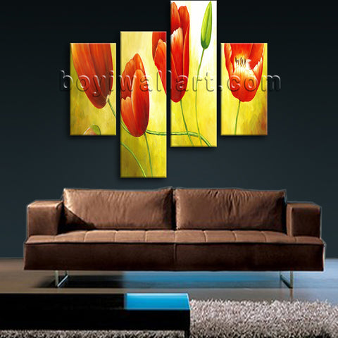 Large Red Tulip Flower Painting Wall Decor Classic Bedroom Canvas Print