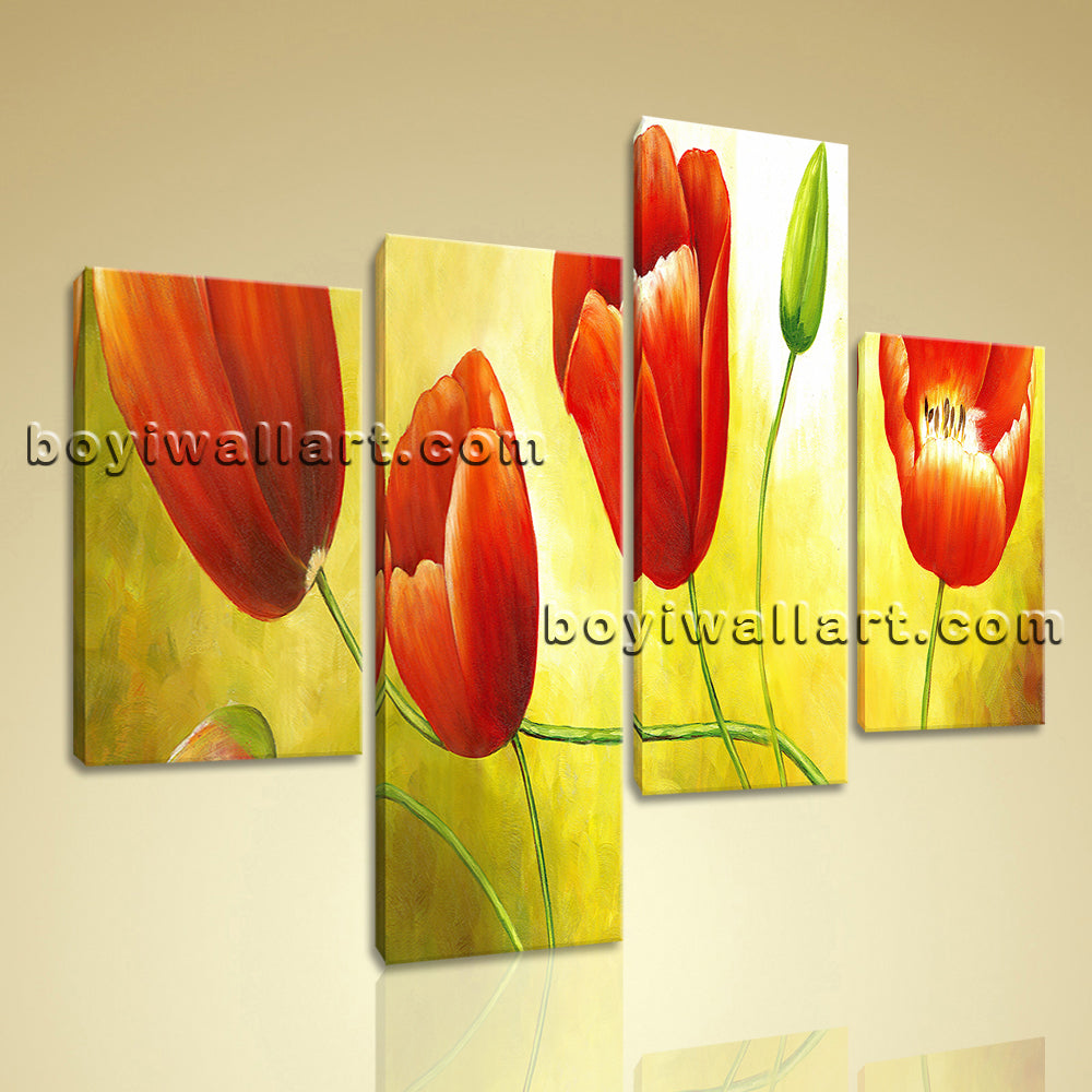 Large Red Tulip Flower Painting Wall Decor Classic Bedroom Canvas ...