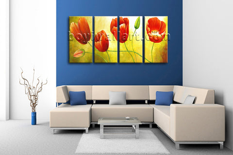 Large Red Tulip Flower Painting Wall Decor Classic Art Bedroom 4 Pieces Prints