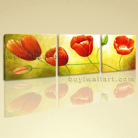 Large Red Tulip Flower Painting Classic Wall Decor Bedroom Three Panels Prints