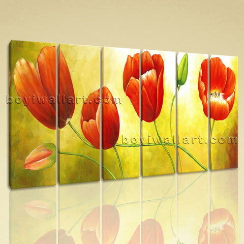 Large Red Tulip Flower Painting Wall Art Classic Oil Living Room Print