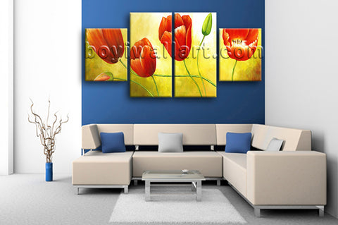 Large Red Tulip Flower Painting Hd Print Classic Wall Decor Dining Room Canvas