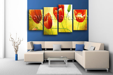 Large Red Tulip Flower Painting Hd Print Classic Wall Art 4 Panels Giclee