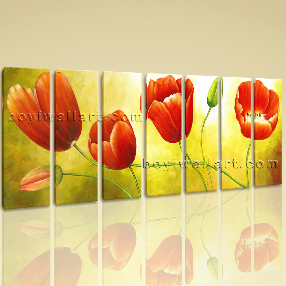 Extra Large Red Tulip Flower Painting Classic Home Decor 7 Pieces Prints