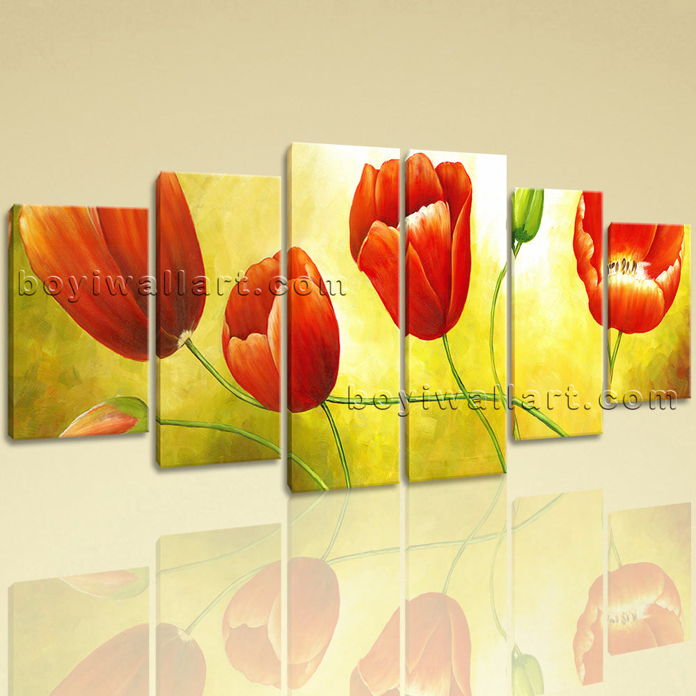 Extra Large Red Tulip Flower Painting Classic Home Decor Dining Room Print
