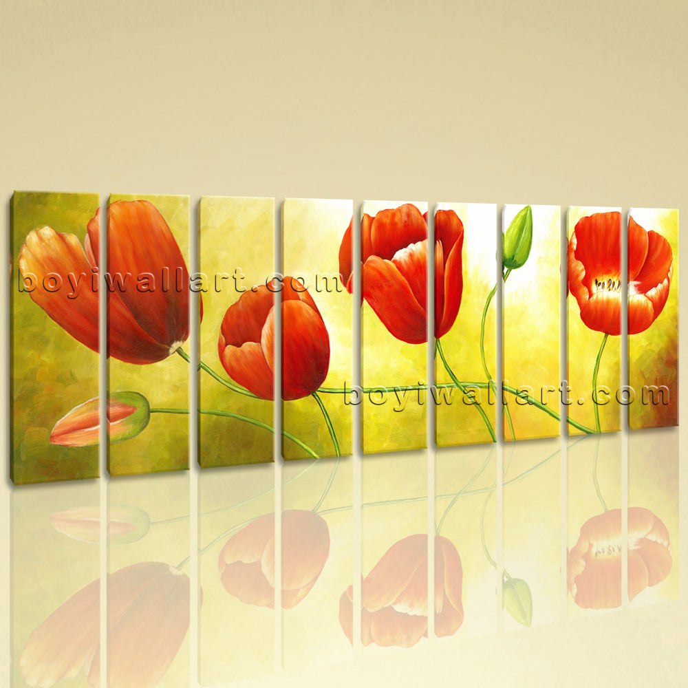 Huge Red Tulip Flower Painting Hd Print Classic Art Nine Pieces Prints