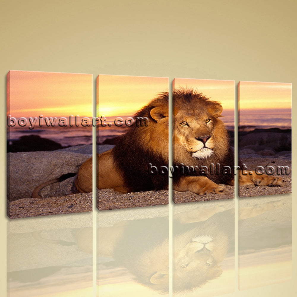 Large Lion Sunset Hd Print Painting On Canvas Bedroom Tetraptych Panels Art