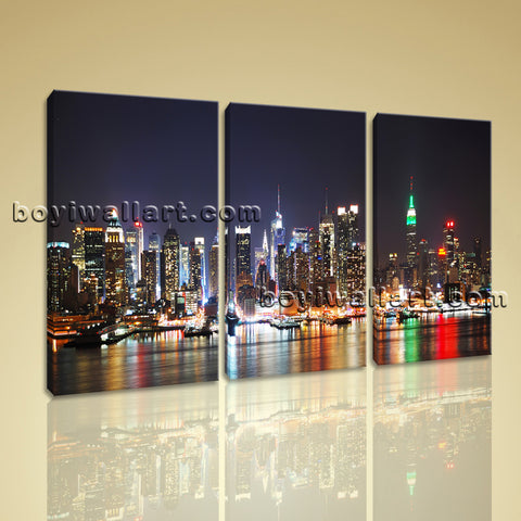 Large New York Skyline Print Photography Painting Bedroom Three Panels Canvas