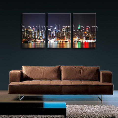 Large New York Skyline Painting Oil Living Room Triptych Panels Prints