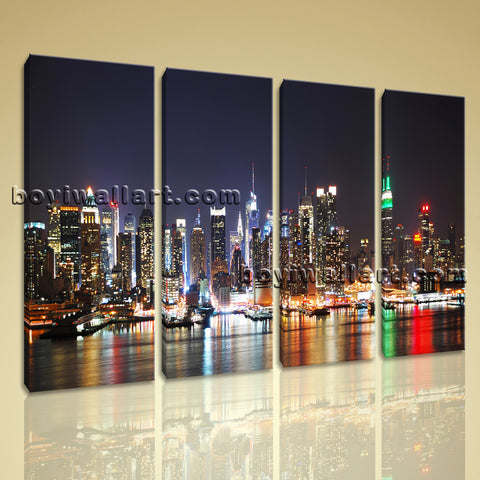Large New York Skyline Wall Decor Photography Art Painting Living Room Prints