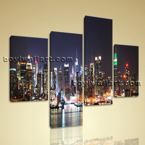 Large New York Skyline Print Photography Wall Decor Bedroom 4 Panels Art